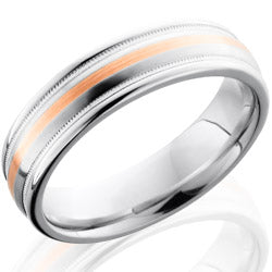 Style 103661: Cobalt Chrome 6mm Domed Band with Rounded Edges, Milgrain, and 1mm 14KR