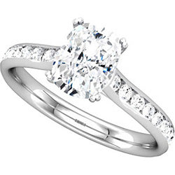 Style 102252: Radiant Shaped Engagement Ring With Round Diamond Side Stones