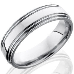 Style 103651: Cobalt Chrome 6mm Domed Band with Milgrain