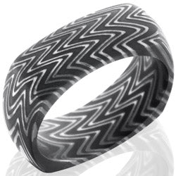 Style 103829: Zebra Patterned Damascus Steel 8mm Domed, Square Band