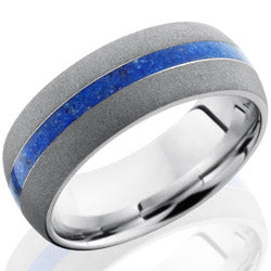Style 103717: Cobalt Chrome 8mm Domed Band with 2mm Lapis Inlay