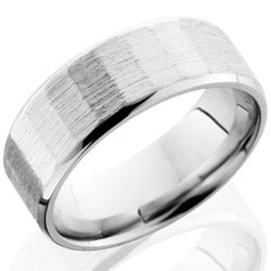 Style 103703: Cobalt Chrome 8mm Beveled Band with Facet Pattern