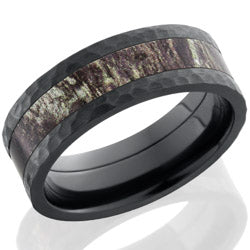 Style 103953: Zirconium 8mm flat band with 4mm MossyOak Camo
