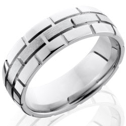 Style 103675: Cobalt Chrome 7mm Domed Band with Brick Pattern