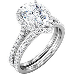 Pear Shaped Halo Engagement Ring with Diamonds - Joseph Schubach Jewelers