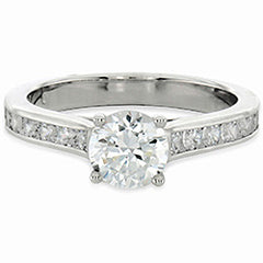 Style 102279: Cathedral Engagement Ring With Channel And Bezel Set Round Side Diamonds
