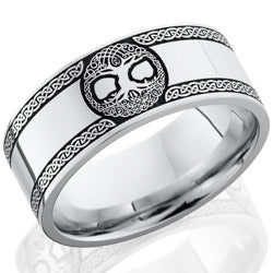 Style 103728: Cobalt Chrome 8mm flat band with laser carved Celtic Tree of Life pattern