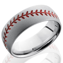 Style 103723: Cobalt Chrome 8mm Domed Band with Baseball Pattern