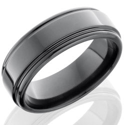 Style 103932: Zirconium 8mm Flat Band with Rounded Edges