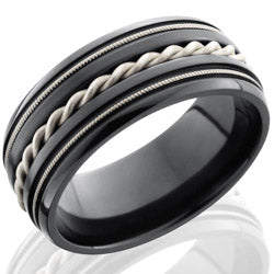 Style 103936: Zirconium 9mm Domed Band with Milgrain and Sterling Silver Braid