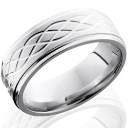 Style 103746: Cobalt Chrome 8mm Flat Band with Grooved Edges and Celtic Pattern