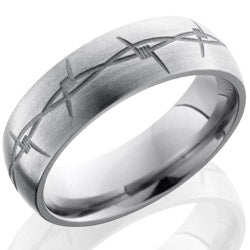 Style 103524: Titanium 7mm Domed Band with Barbed Wire Pattern