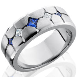 Style 103705: Cobalt Chrome 9mm Beveled Band with Flush Set Sapphires and Diamonds
