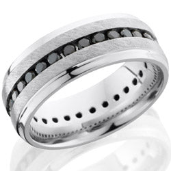 Style 103692: Cobalt Chrome 8mm beveled band with eternity set black diamonds