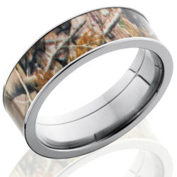 Style 103615: Titanium 7mm Flat Band with 6mm of Realtree AP Camo