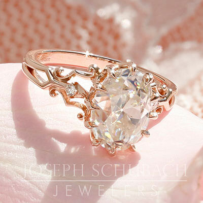 Style 103345: Venus Engagement Ring with Antique Oval Center