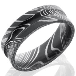 Style 103806: Damascus Steel 7mm Concave Band