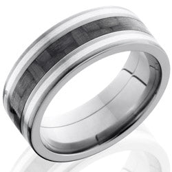 Style 103601: Titanium 8mm Flat Band with 3mm of Carbon Fiber and SS Inlay
