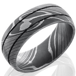 Style 103818: Damascus Steel 8mm Domed Band with Two .5mm Grooves