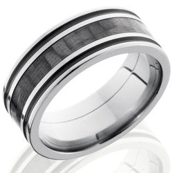 Style 103599: Titanium 8mm Flat Band with 3mm of Carbon Fiber and Black Antiquing