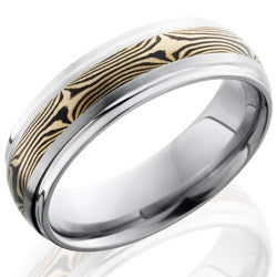 Style 103526: Titanium 7mm Domed Band with Grooved Edges and 14KW and Shakudo Mokume