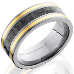 Style 103600: Titanium 8mm Flat Band with 3mm of Carbon Fiber and 14KY Inlay