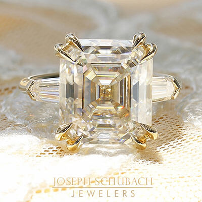 Style 104601: Custom Made Manhattan Three Stone Asscher Cut Engagement Ring with Bullet Side Stones