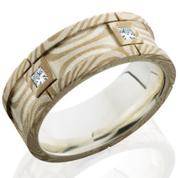 Style 103849: Mokume 7.5mm Flat Segment with PD, SS and Flush Set White Princess Cut Diamonds