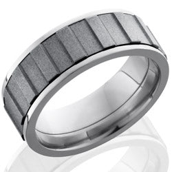 Style 103571: Titanium 8mm Flat, Spinner Band with Gear Pattern
