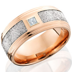 Style 103967: 14K Rose Gold 9mm Flat band with double grooved edges. Meteorite with a 10ct.