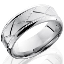 Style 103704: Cobalt Chrome 8mm Beveled Band with Weave Pattern
