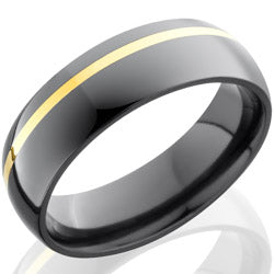 Style 103963: Zirconium 6mm Domed Band with 1mm 14KY