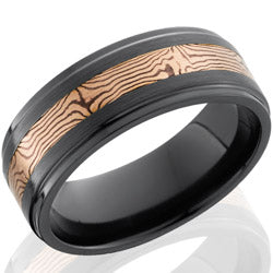 Style 103919: Zirconium 8mm flat band with grooved edges with 3mm 14KR and Shakudo Mokume
