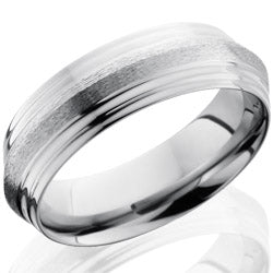 Style 103541: Titanium 7mm Peaked Band with Double Grooved Edges