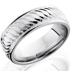 Style 103770: Cobalt Chrome 8mm Flat Band with Rounded Edges and Striped Pattern