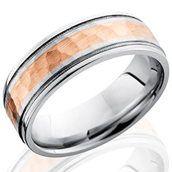 Style 103664: Cobalt Chrome 7.5mm Flat Band with Grooved Edges, Milgrain, and 3mm 14KR