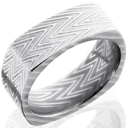 Style 103837: Zebra Patterned Damascus Steel 8mm Flat, Square Band