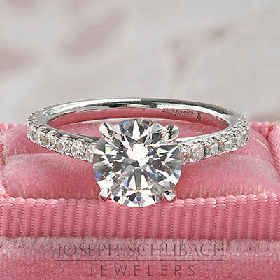 Paris Cathedral Engagement Ring with Round Pavé Band