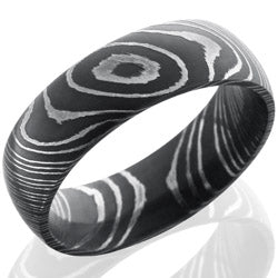 Style 103808: Damascus Steel 7mm Domed Band