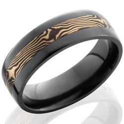Style 103880: Zirconium 7mm Flat Band with 3mm 14KW and Shakudo Mokume
