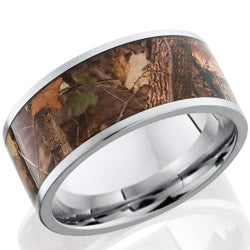 Style 103630: Cobalt Chrome 10mm flat band with 8mm Kings Wooodland camo pattern