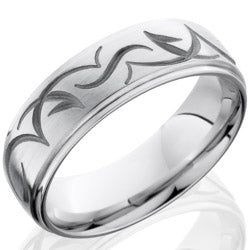 Style 103678: Cobalt Chrome 7mm Domed Band with Grooved Edge and Tribal Pattern