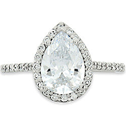 Pear Shaped Halo Engagement Ring with Diamonds (Style 102239-7x5mm)