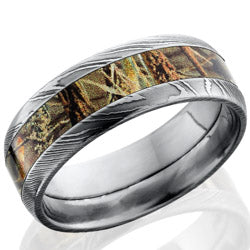 Style 103842: Damascus Steel 8mm domed band with 4mm Real Tree Max4 Camo