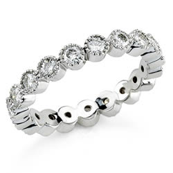 Style 9299: Bezel Set Round Stone Anniversary Band With Milgraining