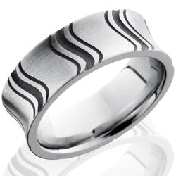Style 103707: Cobalt Chrome 8mm Concave Band with Segmented Pattern