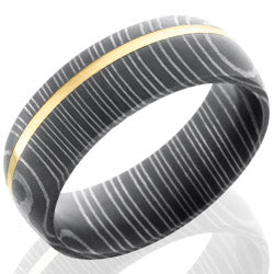 Style 103810: Damascus Steel 7mm Domed Band with 1mm 14KY