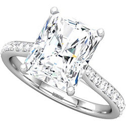 Style 102242: Radiant Shaped Engagement Ring With Diamonds