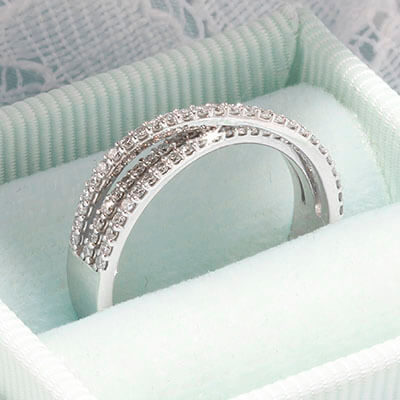 Style 103368: Three row diamond bridge wedding band, 1/3ct t.w.