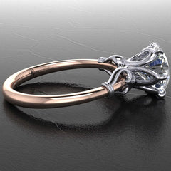 Style 103320: 6 Prong Heart Solitaire Engagement Ring With Bezel Set Accent Diamonds